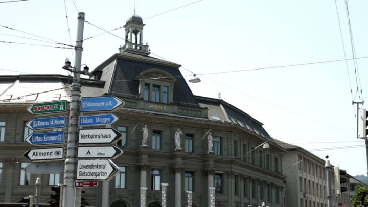 Way signs in front of the Lucerne post office