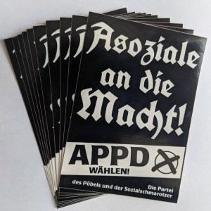 """Sticker """"Asoziale an die Macht!"""""""