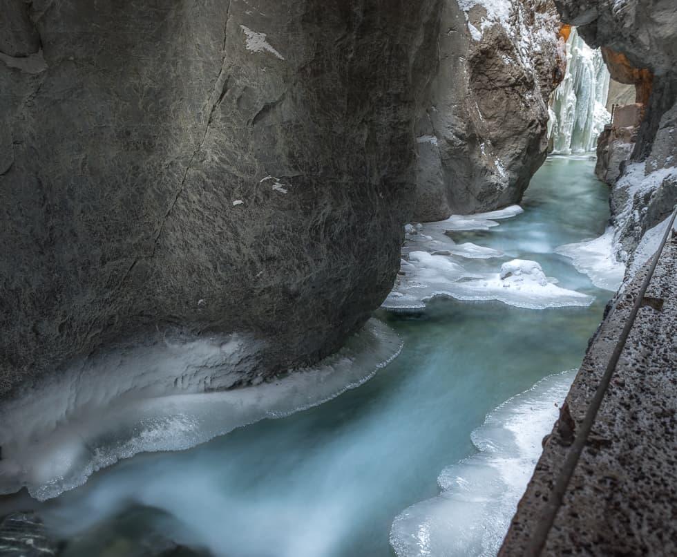 Partnach Gorge with ice