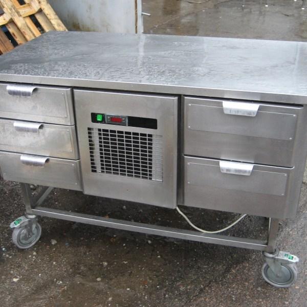 Külmsahtlitega töötasapind Arctic ratastel 1260×620×900