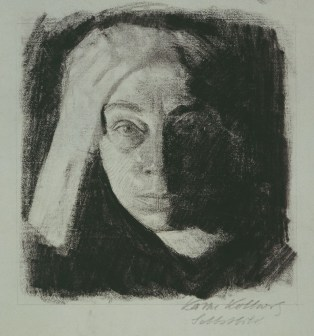 Self-Portrait, 1910 (image through Käthe Kollwitz Museum in Cologne)