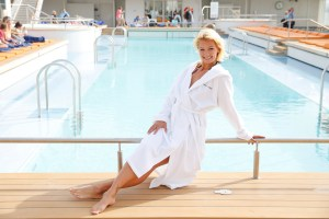 TUI Cruises Presents Franziska van As Godmother For 'Mein Schiff 4'