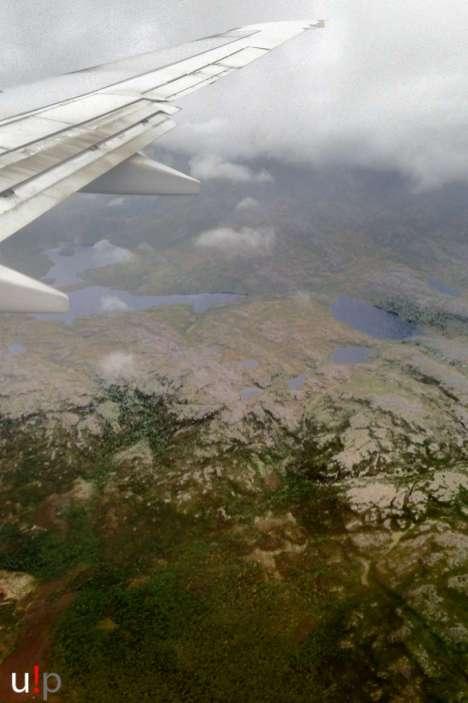 Die karge Finnmark aus dem Flugzeug