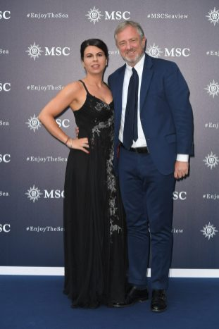 UNICEF goodwill ambassador Geppi Cucciari and MSC Cruises Executive Chairman Pierfrancesco Vago