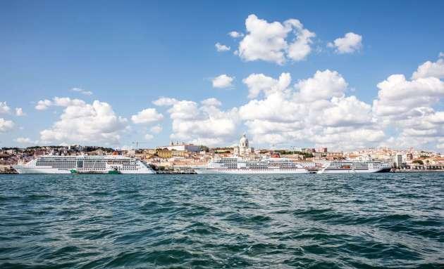 HL Cruises Flottentreffen, MS EUROPA, MS EUROPA 2 und die HANSEATIC inspiration treffen sich am Lisbon Cruise Terminal