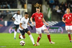 Emelyne Laurent of France and <d14 during the International Women's Friendly match between France and Denmark at La Meinau Stadium on April 8, 2019 in Strasbourg, France. (Photo by Sebastien Bozon/Icon Sport via Getty Images)