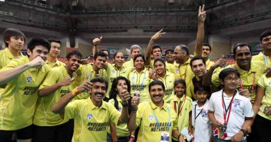 Hyderabad Hotshots team after victory in Semi
