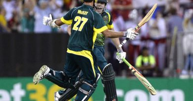 James Faulkner and Clint McKay of Australia Cricket celebrate victory