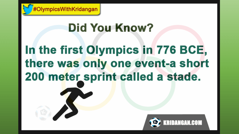 In the first Olympics in 776 BCE, there was only one eventóa short 200 meter sprint called a stade.