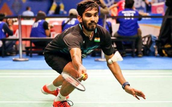 Kidambi Srikanth playing a shot during the match