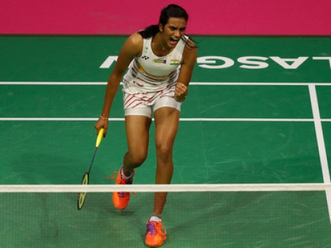 PV Sindhu exulting after winning a point.
