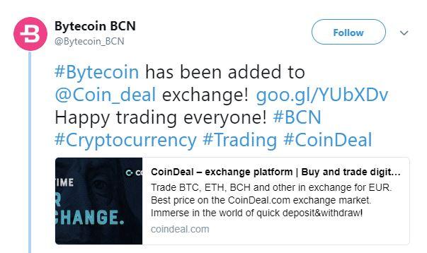 Bytecoin (BCN) CoinDeal Borsası'nda listeleniyor
