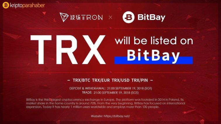 TRON (TRX) BitBay Borsasında 4 ayrı işlem çiftine açık olacak
