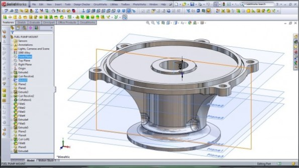 3D CAD Modeling - SolidWorks - High Performance Engine Part - Fuel Pump Mount - 5