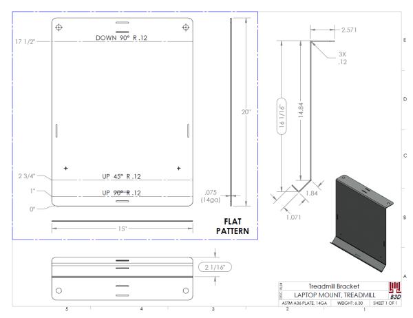 Treadmill Laptop Bracket design - Bend Print and Flat Pattern