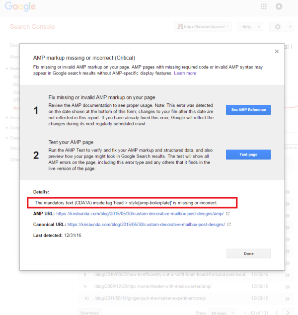 GOOGLE SEARCH CONSOLE - AMP markup missing or incorrect CDATA boilerplate