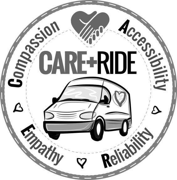 CARE RIDE LOGO - ROUND PATCH WHITE-WHITE B&W 1450px
