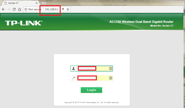 WIFI ROUTER - Login screen and local IP address