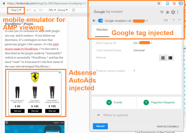 AMP for WordPress plugin with Adsense AutoAds and valid Google Tags displaying