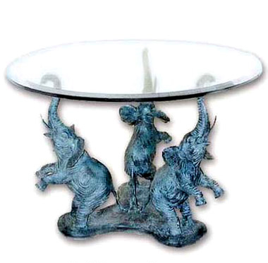 3 circus elephants coffee table