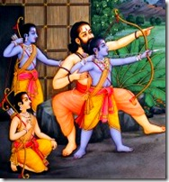Lord Rama and His brothers learning from their guru