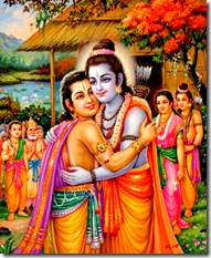 Lord Rama meeting Bharata in the forest