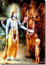 Dhruva blessed by Vishnu