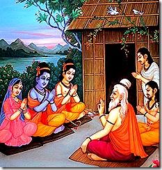 Sita, Rama, and Lakshmana visiting sages