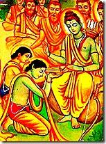 Lord Rama greeting His brothers Bharata and Shatrughna