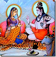 Lord Shiva instructing his wife Parvati