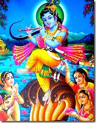 Krishna defeating the Kaliya serpent