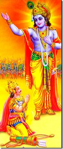 Lord Krishna speaking to Arjuna