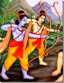 Rama and Lakshmana fighting a Rakshasa