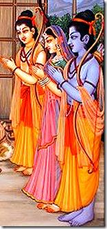 Rama, Sita, and Lakshmana visiting a sage