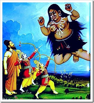 Rama and Lakshmana protecting Vishvamitra
