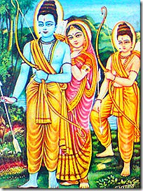 Lakshmana, Sita, and Rama in the forest