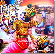 Lord Krishna about to hurl His disc at Bhisma
