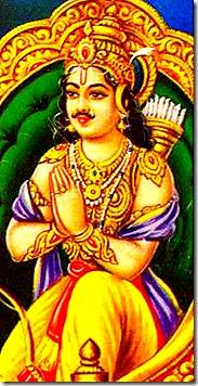 Arjuna praying to Krishna