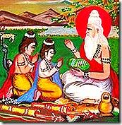 Valmiki teaching Lava and Kusha