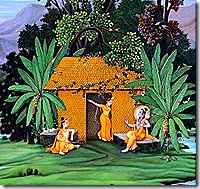 Sita, Rama, and Lakshmana residing in the forest