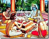 Lord Krishna performing a sacrifice