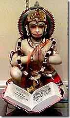 Hanuman reaading the Ramayana