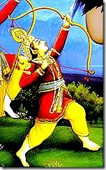 Lord Rama slaying a demon