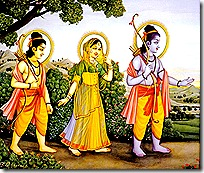 Rama, Sita, and Lakshmana in the forest