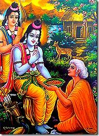 Shabari greeting Rama and Lakshmana