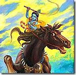 Krishna fighting the Keshi demon