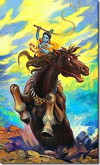 Krishna fighting Keshi demon