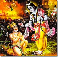 Rama meeting Hanuman