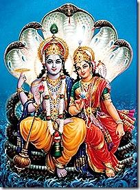 Anantadeva holding Lakshmi and Vishnu