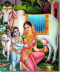Mother Yashoda with Krishna and cows